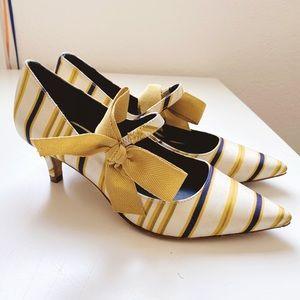 Tory Burch Beverly satin kitten heels yellow 5.5